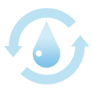 Water drop with arrows around it Icon